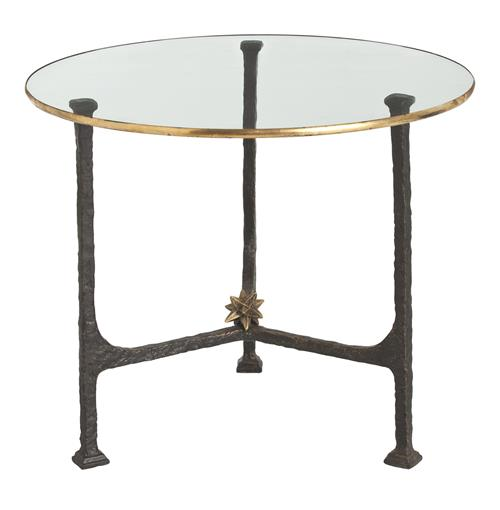 Narnia Hand Forged Iron Gold Leaf Contemporary End Table | Kathy Kuo Home