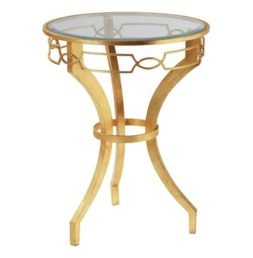 Hollywood Regency Gold Leaf Link Iron End Table | Kathy Kuo Home