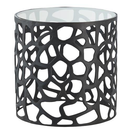 Ennis Modern Black Metal Web Glass Side End Table | Kathy Kuo Home