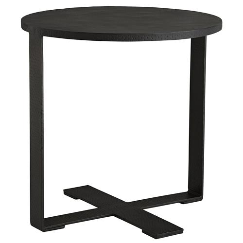 Arteriors Ramiro Industrial Hammered Iron Folding Tray Round End Table | Kathy Kuo Home