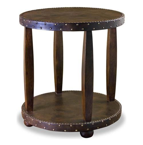 Hobro Leather & Brass Nail Head Rustic Lodge Side Table | Kathy Kuo Home