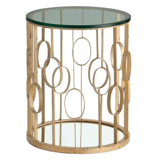 Xena Iron Hollywood Regency Circle Gold Leaf Room Side Table | Kathy Kuo Home