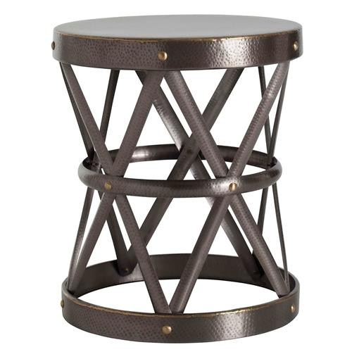 Costello Dark Brass Hammered Metal Open Accent Side Table- Large | Kathy Kuo Home