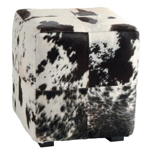 Hugo Leather Black and White Hide Contemporary Patchwork Ottoman | Kathy Kuo Home