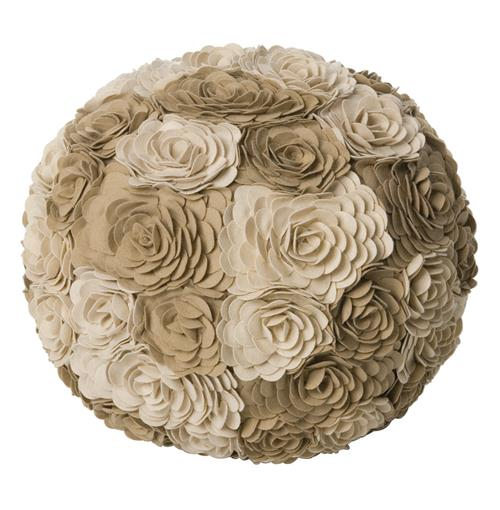 Alana Ivory Taupe Modern Woolen Floral Ottoman Floor Pouf | Kathy Kuo Home
