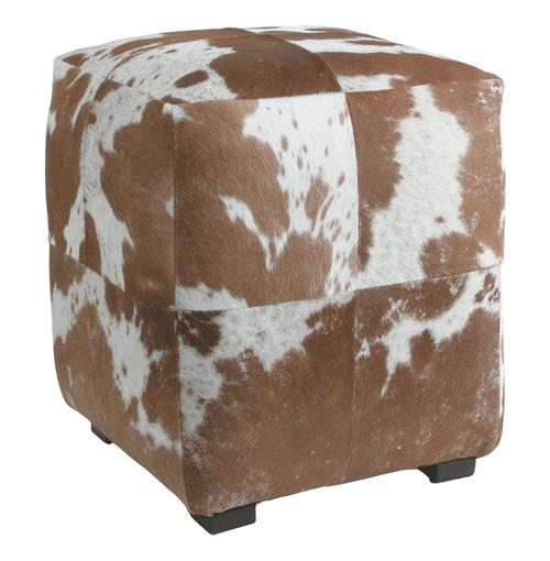Otto Brown White Hair on Hide Modern Rustic Ottoman | Kathy Kuo Home