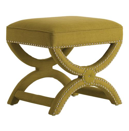 Tennyson Pistachio Linen Hollywood Regency Stool Nickel Studs | Kathy Kuo Home