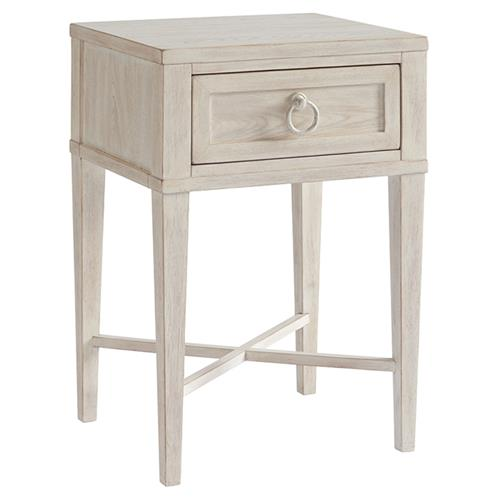 Barclay Butera Clay Modern Tapered Legs Whitewash Wood 1 Drawer Nightstand Narrow Under 21 W Kathy Kuo Home