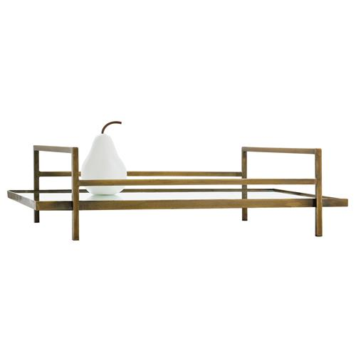 Arteriors Charles Hollywood Regency Antique Brass Rectangular Mirror Tray | Kathy Kuo Home