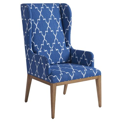 Barclay butera seacliff modern blue upholstered brown wood - Modern upholstered living room chairs ...