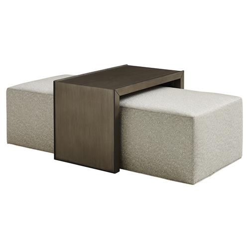 Awe Inspiring Lexington Savona Modern Silver Grey Upholstered Cocktail Ottoman With Slide Tray Gmtry Best Dining Table And Chair Ideas Images Gmtryco