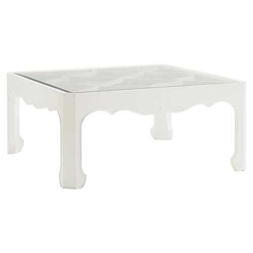 Modern Square Coffee Table With Glass Top: Tommy Bahama Cassava Modern Square Inset Clear Glass Top