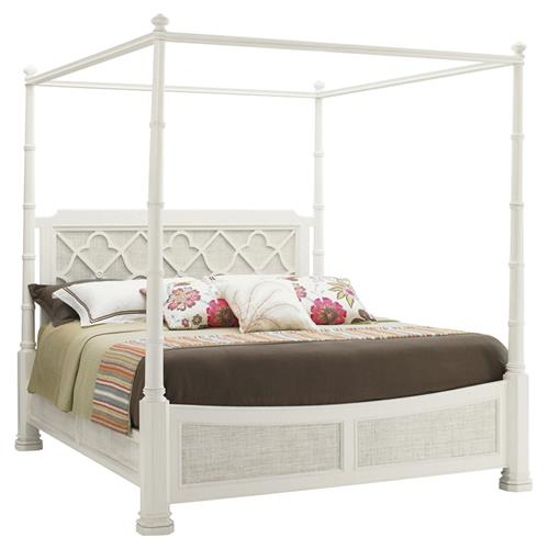Tommy Bahama Luka Coastal Beach White Wood Canopy Poster Bed - King | Kathy Kuo Home