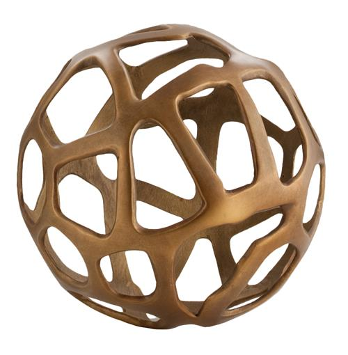 Ennis Antique Brass Web Sphere Sculpture Decor Object - 10 Inch | Kathy Kuo Home