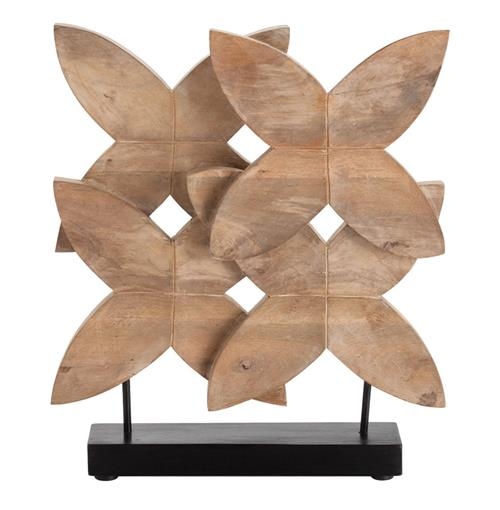 Ella Modern Floral Carved Wood Sculpture on Stand | Kathy Kuo Home