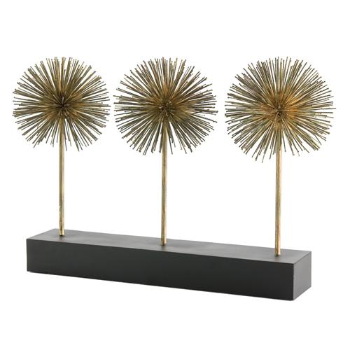 Atlantis Gold Iron Puff Sculpture Trio on Stand | Kathy Kuo Home