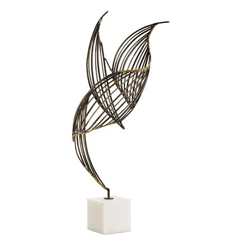 Cai Modern Classic Sculptural Wire Frame Bird on White Marble | Kathy Kuo Home