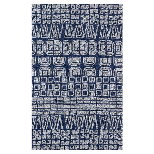 Cypress Global Navy Blue Geometric Outdoor Rug - 2'x3' | Kathy Kuo Home
