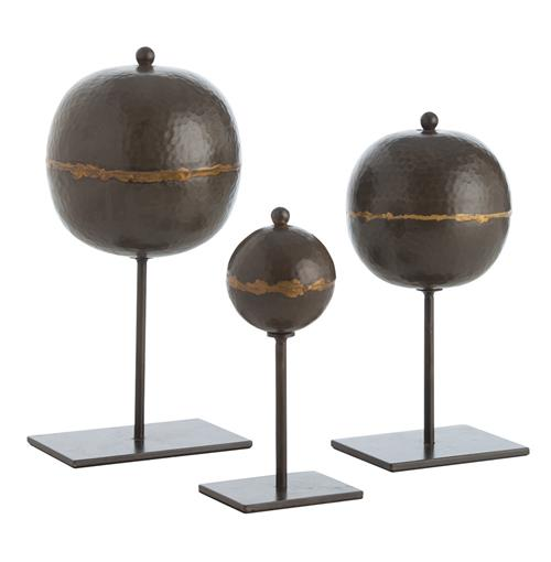 Arteriors Rocco Global Bazaar Set of 3 Hammered Iron Orb Sculptures | Kathy Kuo Home