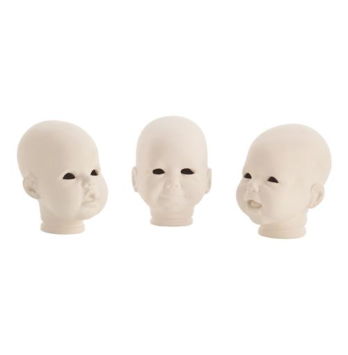 Snoku Porcelain Modern Doll Head Sculptures- Set of 3 | Kathy Kuo Home