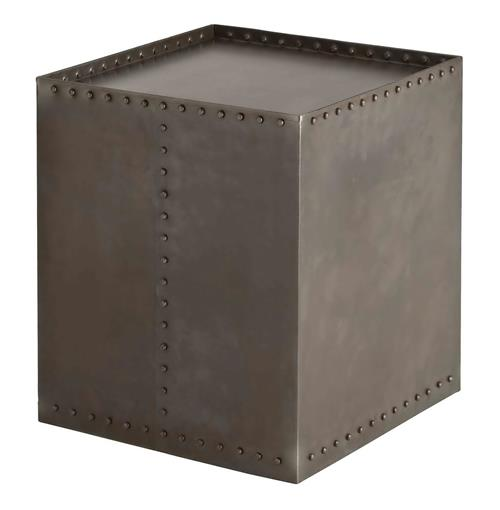 Arteriors Richland Industrial Loft Iron Riveted Cube Side Table | Kathy Kuo Home