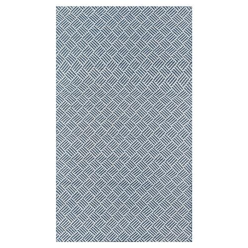 Madcap Cottage Baileys Beach Coastal Blue Crosshatch Outdoor Rug - 2'x3' | Kathy Kuo Home