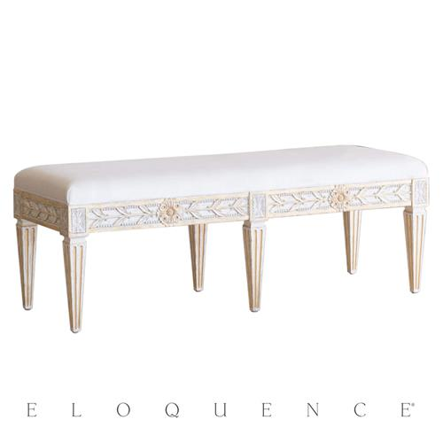 Eloquence French Country Queen Anais Antique White Gold Velvet Acacia Wood Bench Queen Kathy Kuo Home