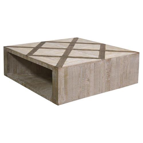 Alfie Modern Rustic Brown Oak Inlay Alder Wood Square Coffee Table