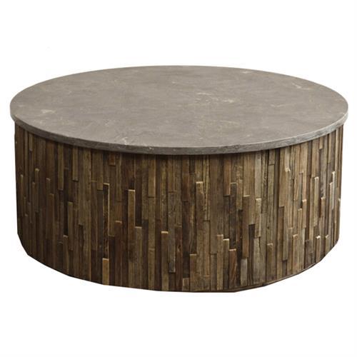 Rustic Brown Wood Coffee Table: Oscar Rustic Lodge Grey Stone Brown Reclaimed Elm Wood