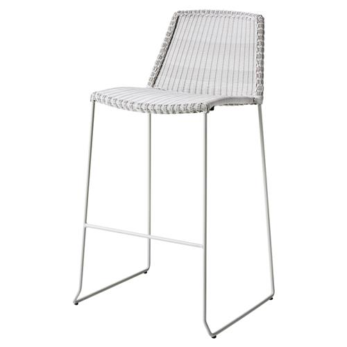 Cane-line Breeze White Modern Outdoor Bar Stool | Kathy Kuo Home