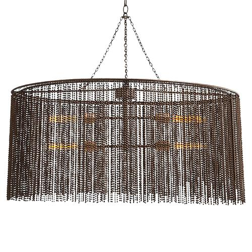 Maxim Dark Antique Iron Beaded Oval 4 Light Chandelier | Kathy Kuo Home