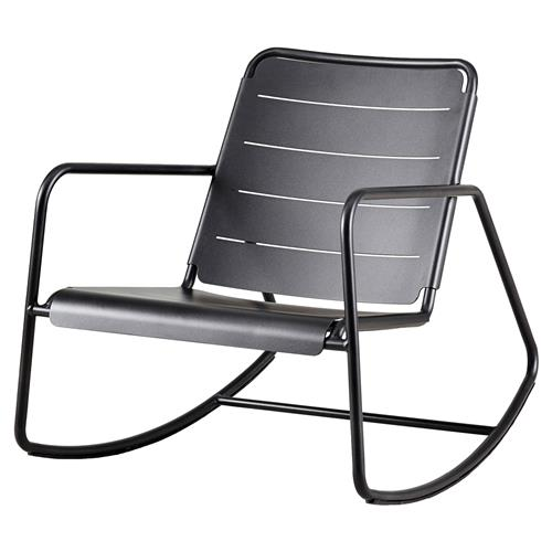 Cane-line Copenhagen Modern Grey Aluminum Outdoor Rocking Chair | Kathy Kuo Home