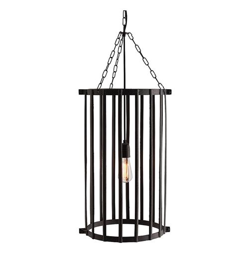Yorkshire Contemporary Caged Hammered Iron Pendant Light | Kathy Kuo Home