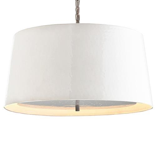 Orin Glossy White Hammered Iron Pendant Light | Kathy Kuo Home