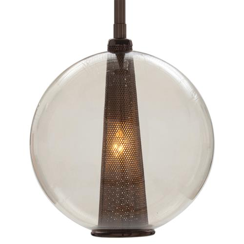 Cavlar Brown Nickel Round Smoke Glass Pendant Light | Kathy Kuo Home