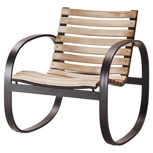 Cane-line Parc Modern Teak Aluminum Outdoor Rocking Chair | Kathy Kuo Home