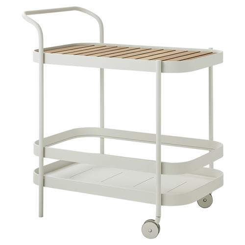 Cane-line Roll Modern Teak White Aluminum Outdoor Bar Cart | Kathy Kuo Home