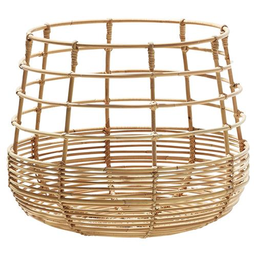 Cane-line Sweep Coastal Brown Rattan Round Basket | Kathy Kuo Home