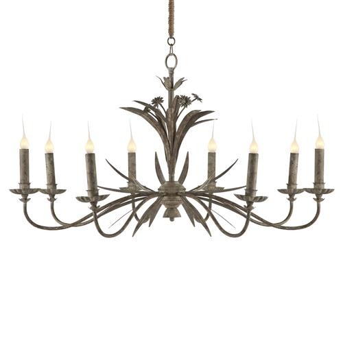 Florence Antique Grey Metal French Country 8 Light Chandelier | Kathy Kuo Home