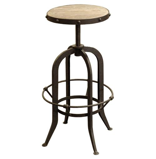 Bryan Industrial Loft Retro Rustic Pine Swivel Bar Counter Stool | Kathy Kuo Home