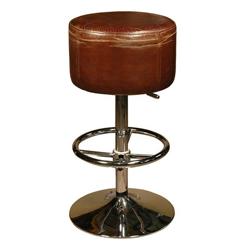 Jeanne Rustic Retro Distressed Top Grain Leather Brown Barstool | Kathy Kuo Home