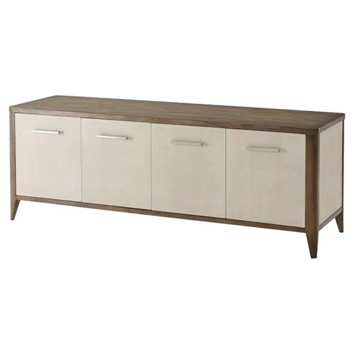 Theodore Alexander Modern Creswick Brown Wood Leather Wrapped Media Console | Kathy Kuo Home