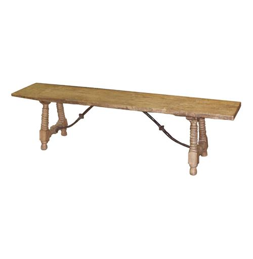 Zareb Reclaimed Rustic Elm Wood Spanish Iron Base Bench | Kathy Kuo Home