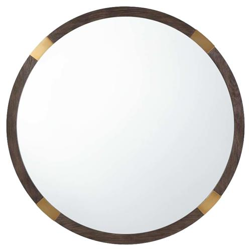 Theodore Alexander Modern Orion Round Brown Wood Brass Corners Wall Mirror | Kathy Kuo Home