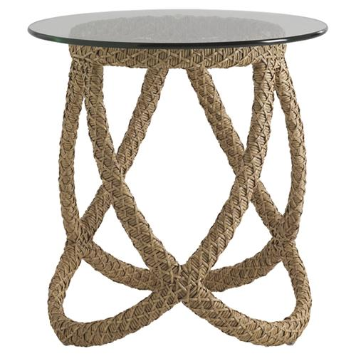 Tommy Bahama Aviano Modern Glass Round Outdoor Wicker Side End Table | Kathy Kuo Home