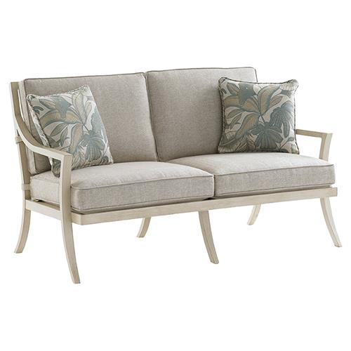 Tommy Bahama Misty Garden French Country Ivory Grey Outdoor Loveseat | Kathy Kuo Home