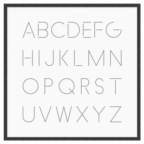 Blodwen Modern Classic English Alphabet Framed Canvas Art - II | Kathy Kuo Home