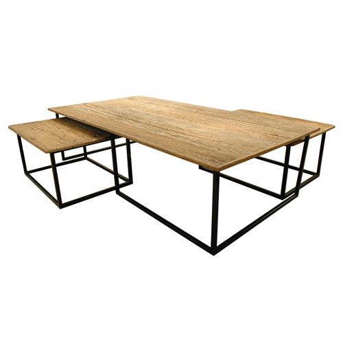 Dickens Reclaimed Wood Modern Large Coffee Table Set | Kathy Kuo Home