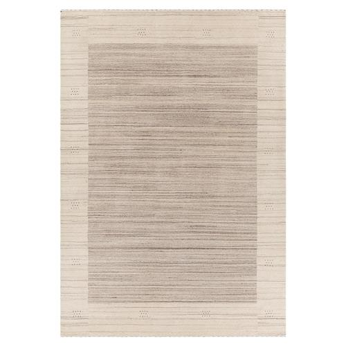 Ivy Modern Beige Brown Hand Woven Wool Rug - 5' x 7'6 | Kathy Kuo Home