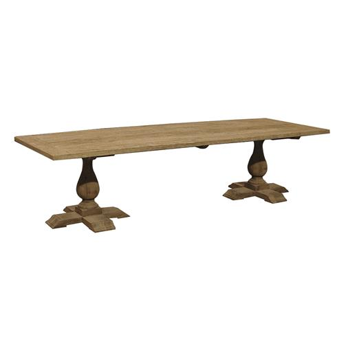 Toulouse French Country Reclaimed Elm Double Pedestal Coffee Table | Kathy Kuo Home